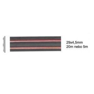 Samolepicí ochranná lišta černá 2x červený pruh 29x4,5mm 20m