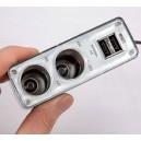 Rozdvojka autozapalovače12/24V + 2xUSB s kabelem