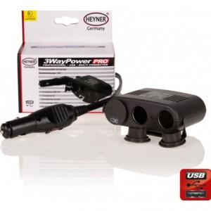 Rozbočka do auta 12V + USB Heyner 511300