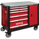 Skříňka dílenská pojízdná 6 zásuvek +zavírací skříň červená YATO YT-09002