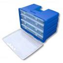 Sada 4 zásobníků v plastovém kufru o obsahu: O-kroužky, ventily, krytky 590 ks