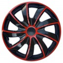 Poklice na kola QUAD BICOLOR BLACK/RED 14""