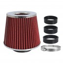 Filtr vzduchový UNI 155x130x120mm, červený/chrom, adaptér 60,63,70mm 86004